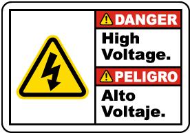 Bilingual Danger High Voltage Label