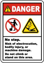 No Step Risk of Electrocution Label