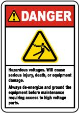 Danger Hazardous Voltages Label