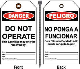 Danger Do Not Operate Bilingual Tag