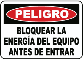 Spanish Danger Lock Out Equipment Sign
