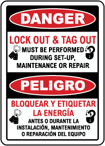 Bilingual Danger Lock Out & Tag Out Label