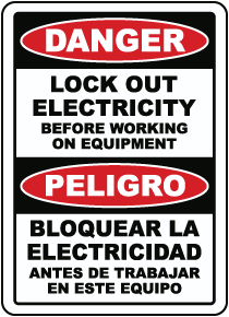 Bilingual Danger Lock Out Electricity Label
