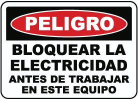 Spanish Danger Lock Out Electricity Sign