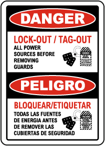 Bilingual Danger Lock-Out Tag-Out Power Sources Sign