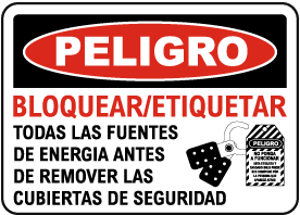 Spanish Danger Lock-Out Tag-Out Power Sources Sign