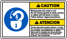 Bilingual Caution Moving Parts Can Crush Sign