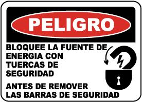 Spanish Danger Lock Out Power Label
