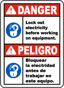 Bilingual Lock Out Electricity Before Working Label