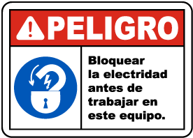 Spanish Lock Out Electricity Before Working Sign