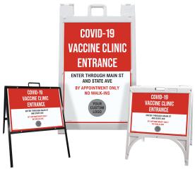 Custom COVID-19 Vaccine Clinic Entrance Sandwich Board Sign / A-Frame Sidewalk Sign