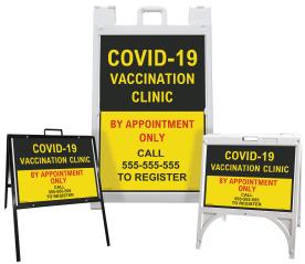 Custom COVID-19 Vaccination Center Sandwich Board Sign / A-Frame Sidewalk Sign