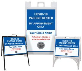Custom COVID-19 Vaccine Center Sandwich Board Sign / A-Frame Sidewalk Sign