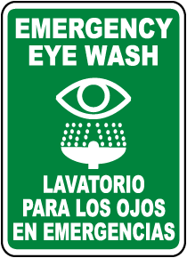 Bilingual Emergency Eye Wash Sign