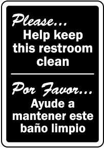 Bilingual Keep This Restroom Clean Sign