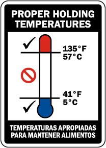 Bilingual Proper Holding Temperatures Sign