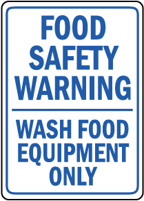 Food Safety Wash Food Equipment Sign