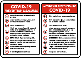 Bilingual COVID-19 Prevention Measures Sign