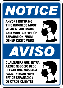 Bilingual Wear a Face Mask Sign