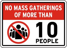 No Mass Gatherings Sign