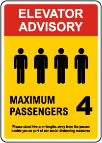 Elevator Advisory, Max 4 Passengers Sign