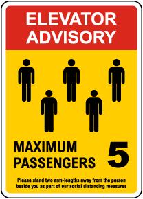 Elevator Advisory, Max 5 Passengers Sign