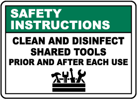 Safety Instructions Clean Shared Tools Sign
