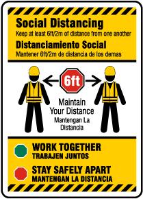 Bilingual Social Distancing Construction Sign