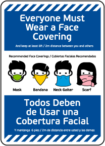 Bilingual Everyone Must Wear a Face Covering Sign