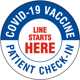 COVID-19 Vaccine Patient Check-In Starts Here Floor Sign
