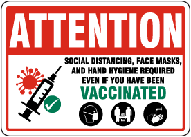 Social Distancing Masks And Hand Hygiene Required Even If Vaccinated Sign
