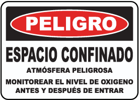 Spanish Check Oxygen Level Before & During Entry Sign