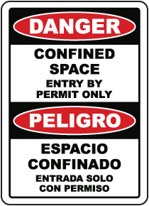 Bilingual Confined Space Entry By Permit Only Sign