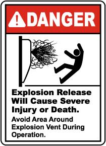 Avoid Area Around Explosion Vent Sign