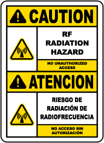 Bilingual RF Radiation Hazard No Unauthorized Sign