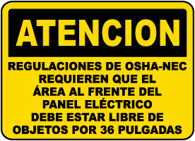 Spanish OSHA-NEC Regulations Label