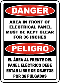 Bilingual Danger Area In Front of Panel Must Be Clear Label