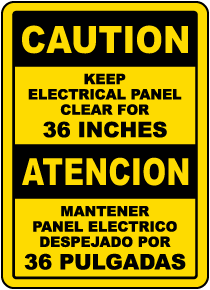Bilingual Keep Electrical Panel Clear For 36 Inches Label