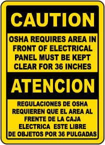 Bilingual Caution Keep Panel Clear For 36 Inches Label
