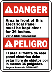 Bilingual Area In Front of Panel Must Be Kept Clear Label