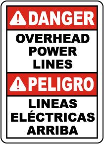 Bilingual Danger Overhead Power Lines Sign