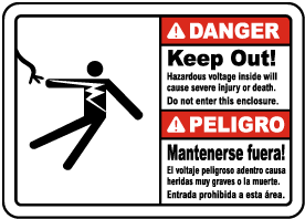 Bilingual Hazardous Voltage Do Not Enter This Enclosure Sign