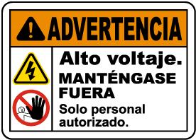 Spanish Warning High Voltage Keep Away Sign