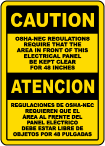 Bilingual Caution Keep Panel Clear For 48 Inches Label