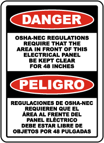 Bilingual Danger Keep Panel Clear For 48 Inches Sign