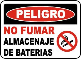 Spanish No Smoking Battery Storage Area Sign