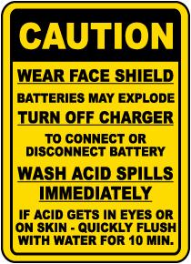 Battery Charging Procedures Sign