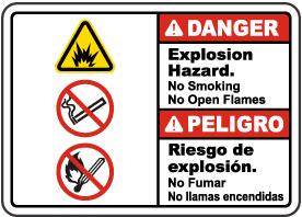 Bilingual Explosion Hazard No Smoking No Open Flames Sign