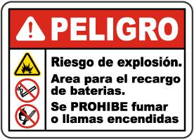 Spanish Danger Explosion Hazard Charging Area Sign