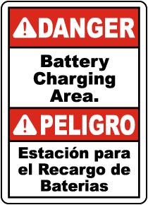 Bilingual Danger Battery Charging Area Sign